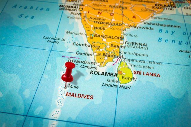 موقع جزر المالديف على الخريطة