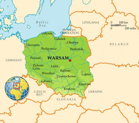موقع بولندا على الخريطة
